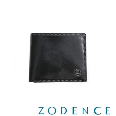 ZODENCE MAN 義大利植鞣革系列原色透明窗兩折短夾 黑