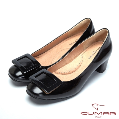 CUMAR粉領時尚-摩登方形裝飾粗跟包鞋-黑