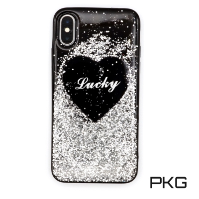 PKG Apple IPhone X 保護殼(時尚亮片-愛心)