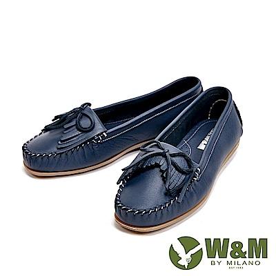 W&M 可水洗舒適柔軟蝴蝶結流蘇平底 女鞋-藍(另有灰、米白)