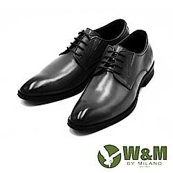 W&M 真皮俐落剪裁綁帶皮鞋-黑