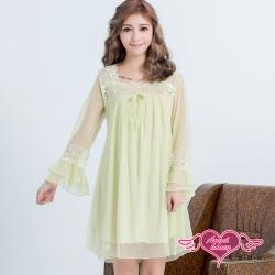 居家睡衣 飄逸雅緻 長袖一件式連身氣質蕾絲睡衣(綠F) AngelHoney天使霓裳