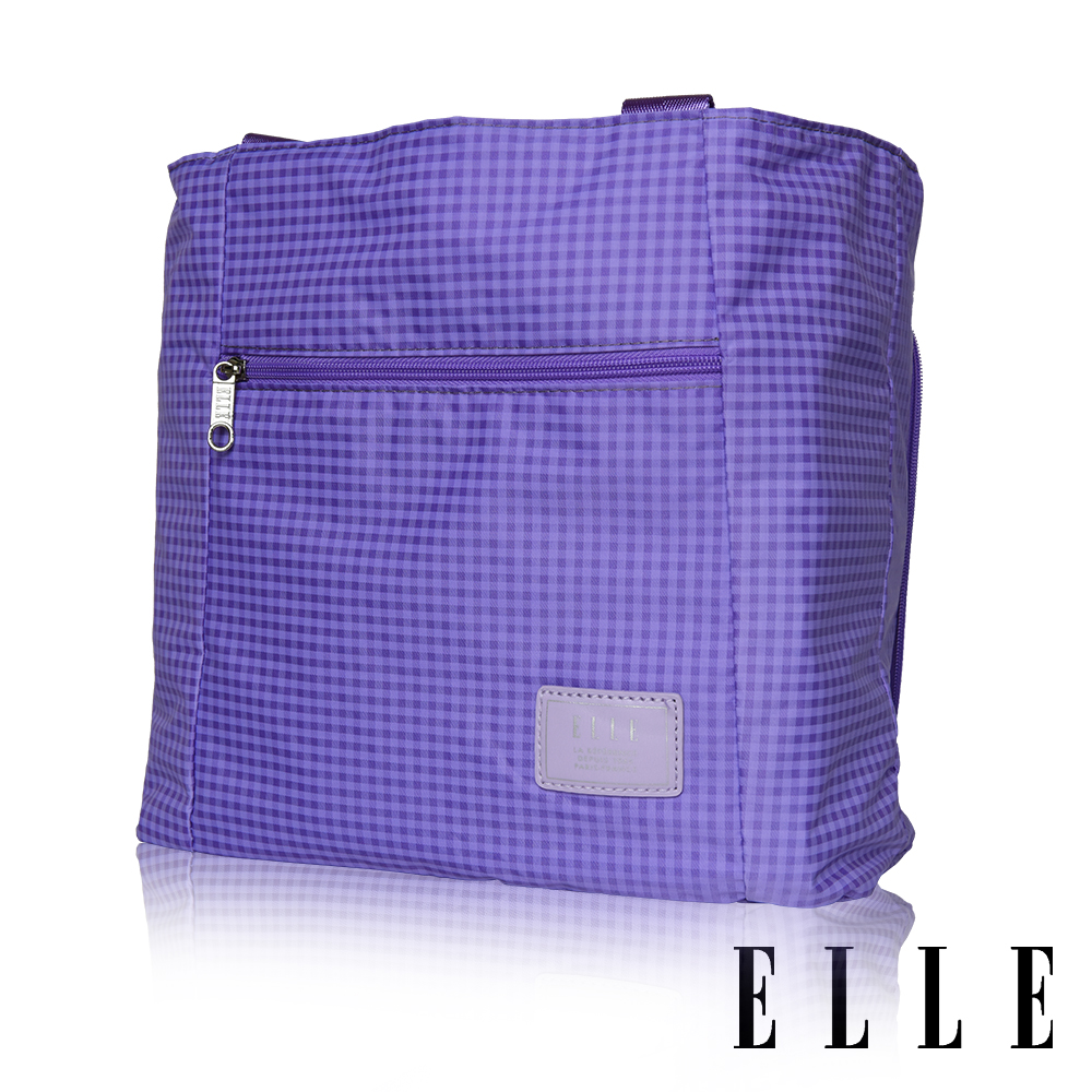 ELLE 輕旅休閒可掛式摺疊收納尼龍手提肩背包- 格紋紫 EL82357