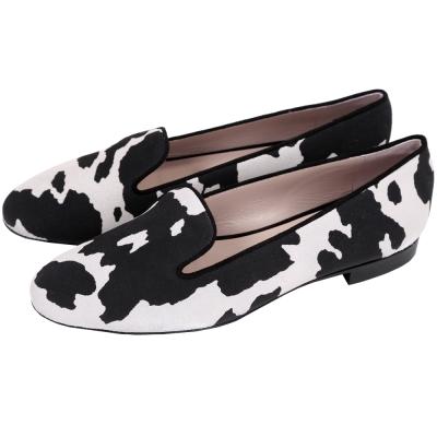 BOUTIQUE MOSCHINO 動物紋麂皮樂福鞋(黑x灰)