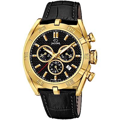 JAGUAR積架 EXECUTIVE 極速計時手錶-黑x金框/45.8mm