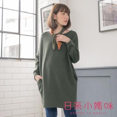 日系小媽咪孕婦裝-韓製孕婦裝-交叉造型車線寬版素面洋裝-共四色