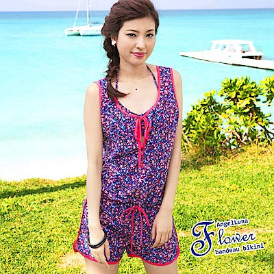 【AngelLuna日本泳裝】 復古小碎花三件式比基尼泳衣-紫色