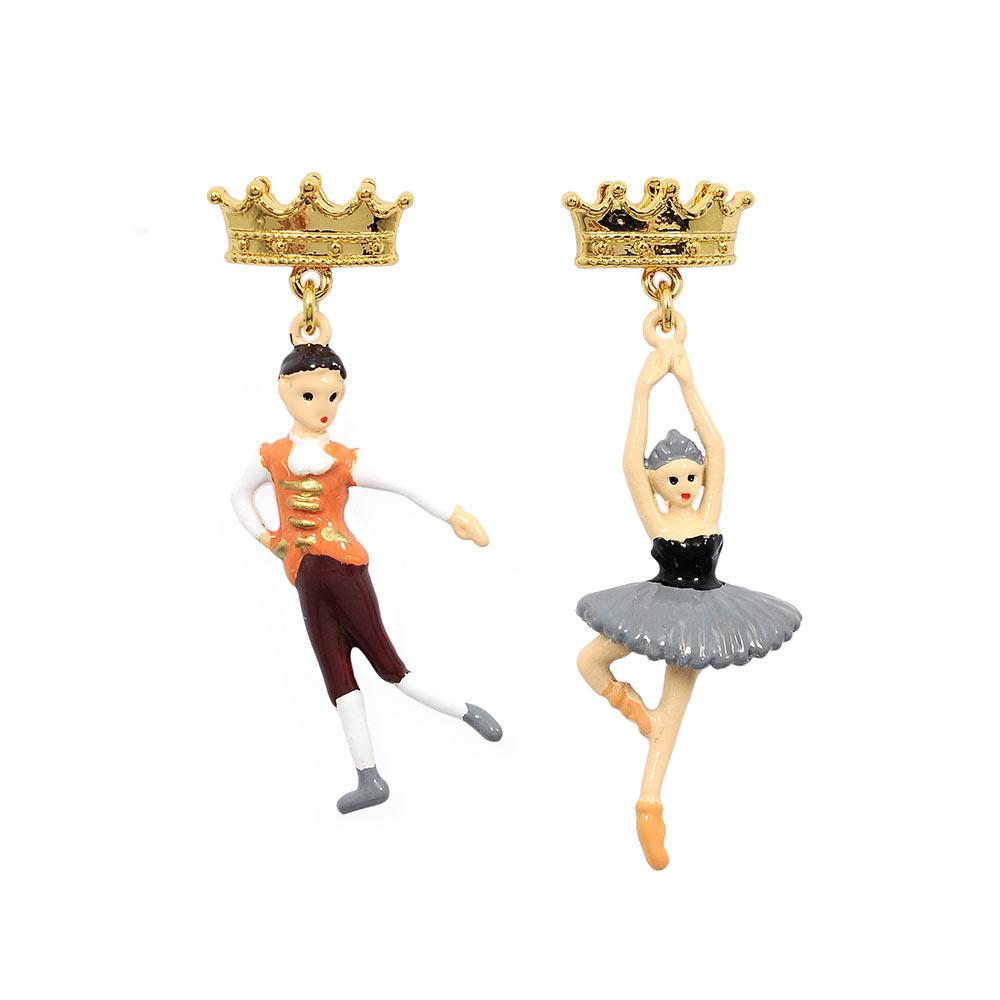 Les Nereides N2  優雅芭蕾舞女孩系列 王子與黑天鵝雙人舞 不對襯耳環 耳針