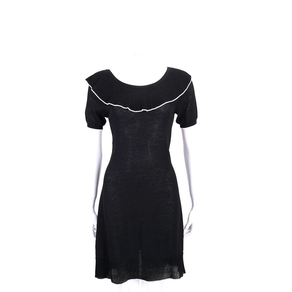 BOUTIQUE MOSCHINO 黑色荷葉領邊設計短袖洋裝(100%COTTON)