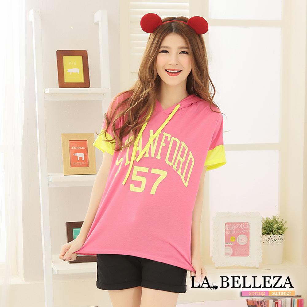 La Belleza57號袖配色螢光英文字帽T