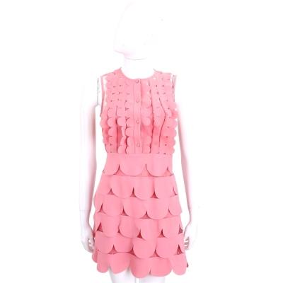 RED VALENTINO 粉色花邊拼接透膚無袖洋裝