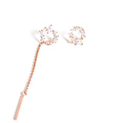 微醺禮物 正韓 鍍K金銀針 不對稱 拼鑽 開口 一邊細鍊垂墜 耳針 耳環