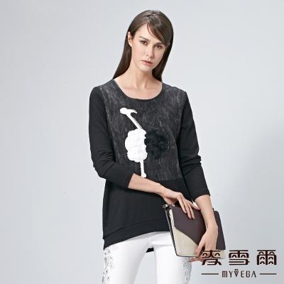 麥雪爾 鑽飾立體鴕鳥拼接棉質上衣
