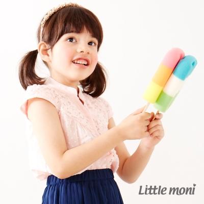 Little moni 甜美女孩蕾絲拼接襯衫 粉紅