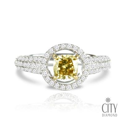 City Diamond引雅 『天堂古堡』 77分黃彩鑽鑽石戒指