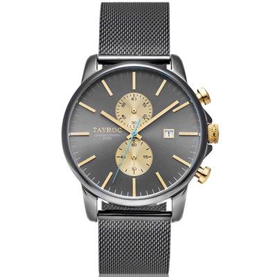 TAYROC 英式簡約時尚米蘭帶計時手錶-黑X金/43mm