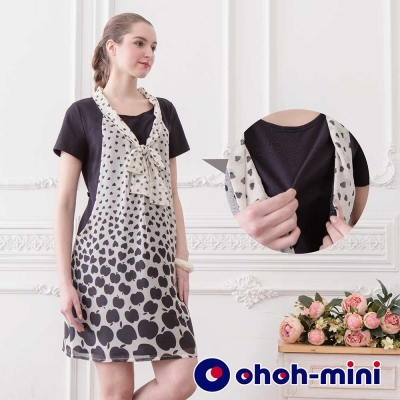 【ohoh-mini 孕婦裝】印花雪紡前中綁帶孕哺洋裝