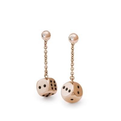 Brosway Chance 不鏽鋼玫瑰鍍金骰子耳環