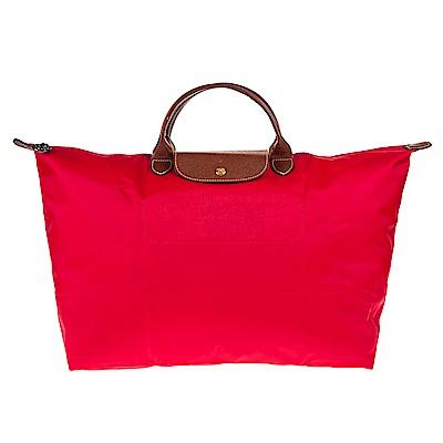 Longchamp 折疊大型短提把摺疊水餃包/旅行袋 (深莓紅色/大)