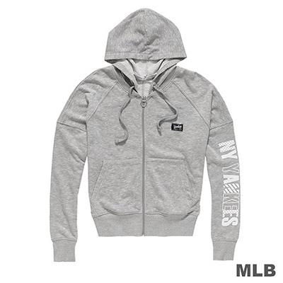 MLB-紐約洋基隊俏皮印花可拆帽外套-麻灰 (女)