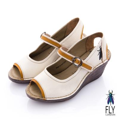 Fly London(女) LADIES 復古魚口娃娃扣環楔型涼鞋 - 米白