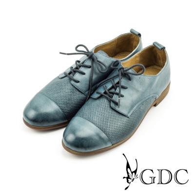GDC-紳士風真皮點點素面牛津鞋-藍色