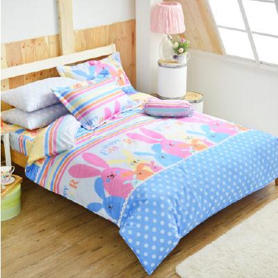 Goelia 乖乖兔 加大 活性印染超細纖 全鋪棉床包兩用被四件組