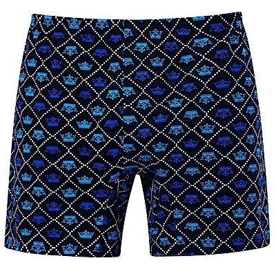 DADADO-皇冠 M-3L 印花平口內褲(藍)品牌推薦