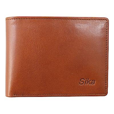 SIKA義大利素面牛皮短皮夾A8272-01深褐色