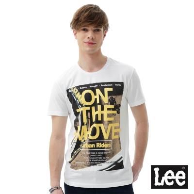 Lee ON THE MOVE印刷短袖圓領T恤 男 白色