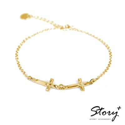 STORY故事銀飾-十字系列-堅信 純銀手鍊(黃K金)