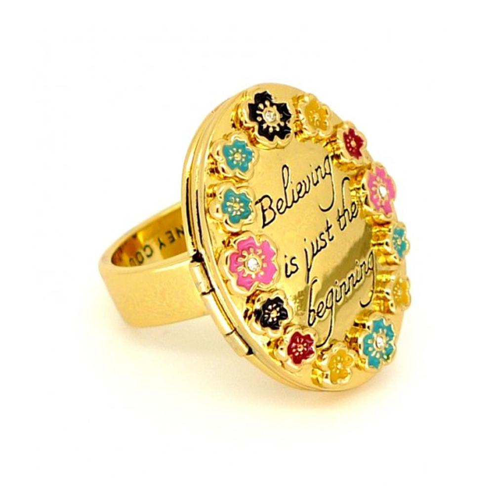 迪士尼 DISNEY COUTURE 小鹿斑比 橢圓相本金色戒指 彩色立體花朵