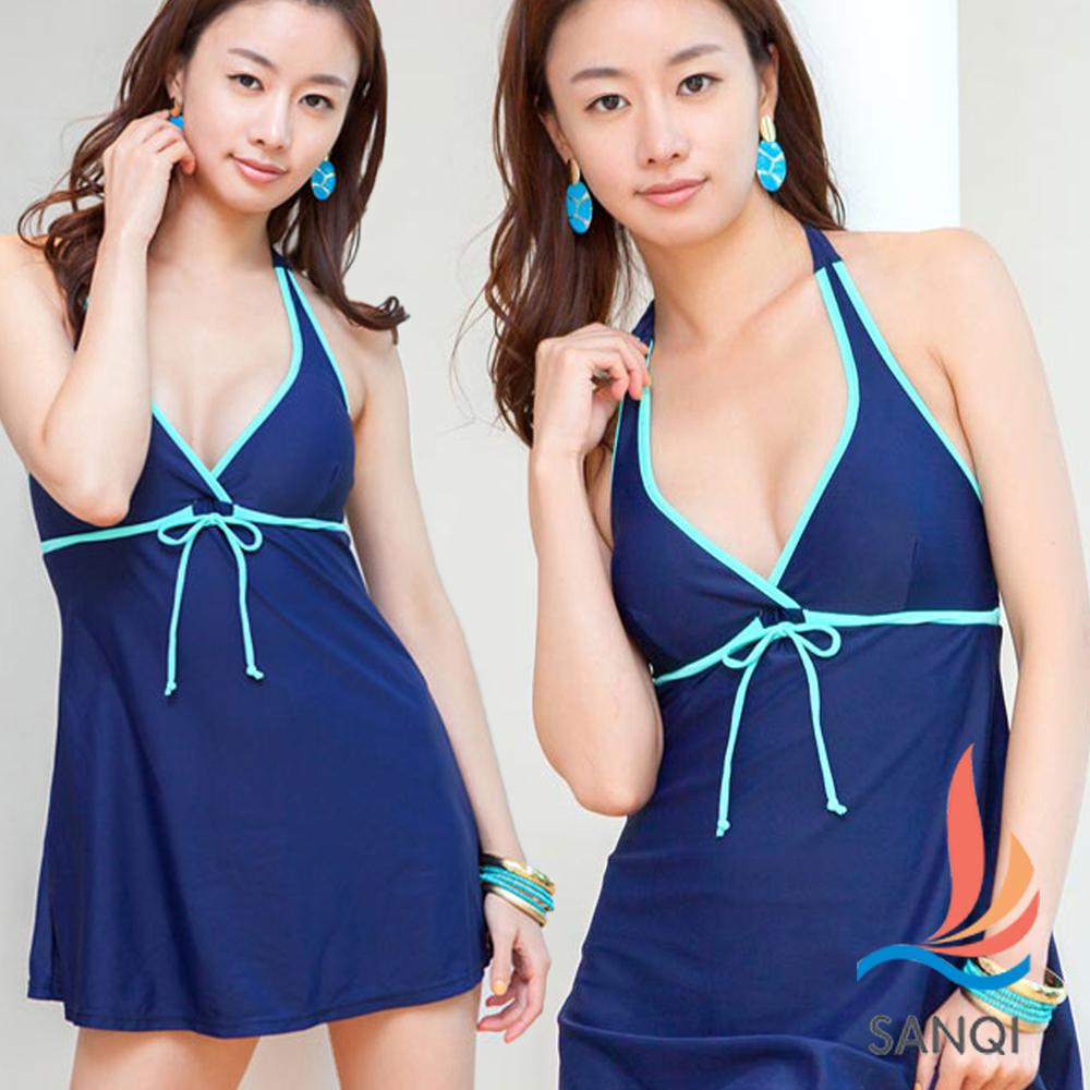 SANQI三奇 完美渡假 連身式泳裝 泳衣(藍M~XL)