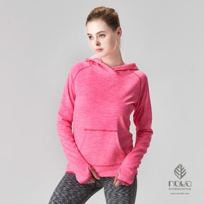 NOYA-女大口袋時尚雪花磨毛超輕蓄溫保暖連帽上衣-亮桃紅-N63WF08