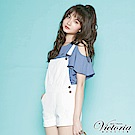 Victoria 白色純棉割破吊帶短褲-女-白色