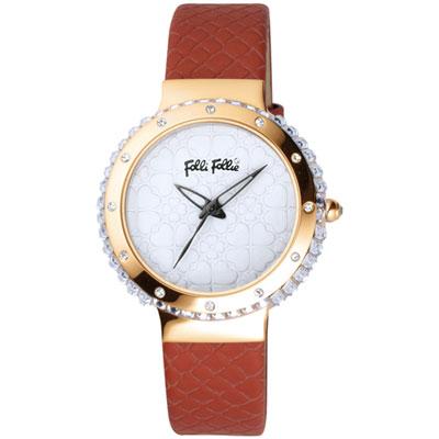 Folli Follie 海洋風情畫晶鑽時尚腕錶-白x紅色錶帶/35mm