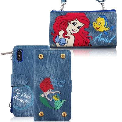 Disney迪士尼iPhone X 牛仔彩繪零錢包保護殼套組(活動可拆式)_小美...