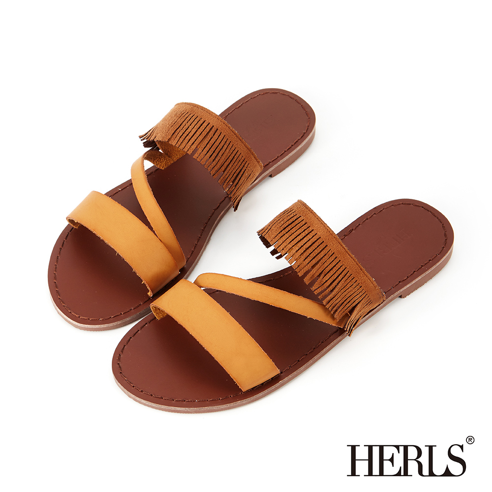 HERLS 民俗風線條鏤空流蘇平底拖鞋-駝色
