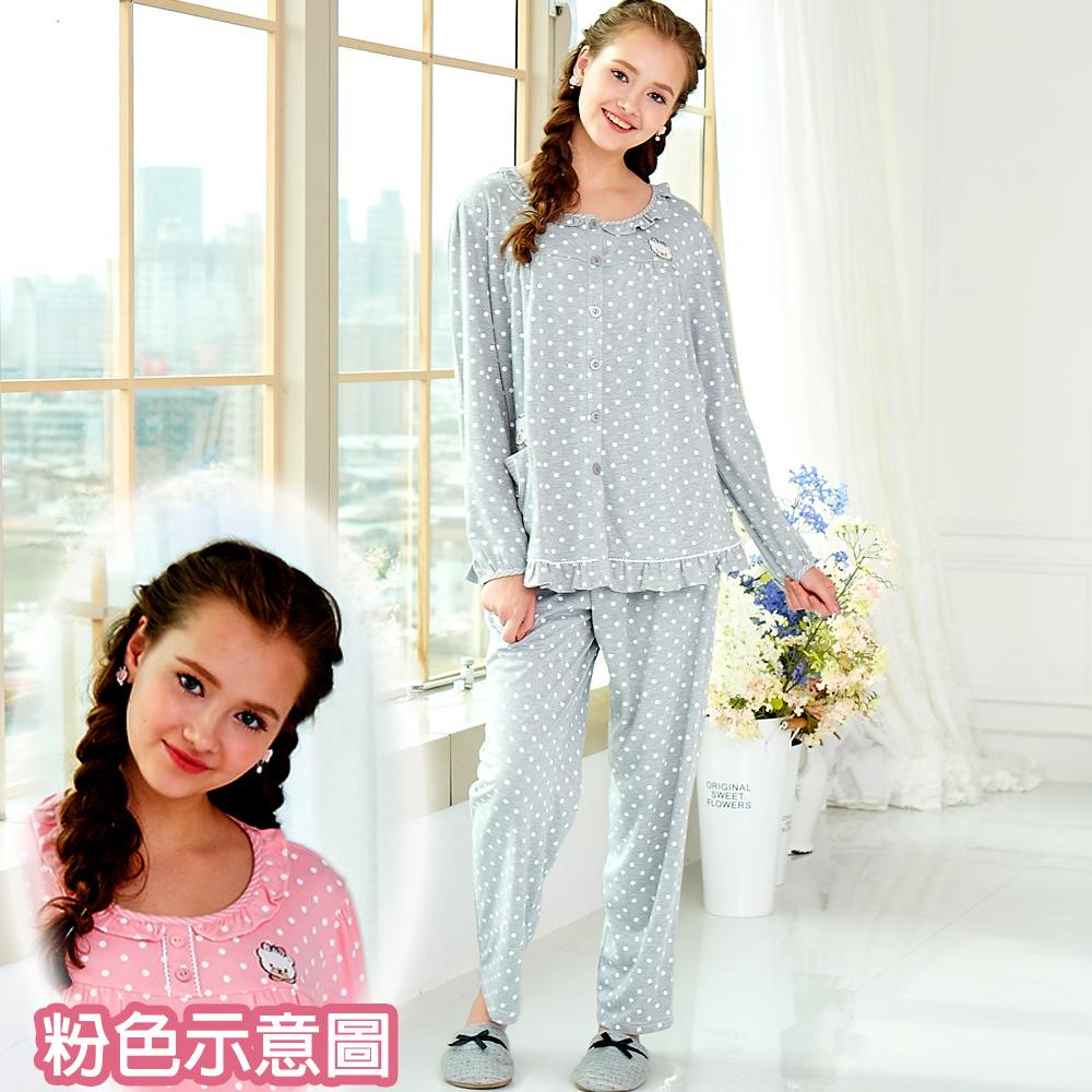 睡衣 精梳棉柔針織 長袖兩件式睡衣(67208)粉色 蕾妮塔塔
