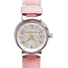 LV Q121K0 TAMBOUR鱷魚皮錶帶原花紋錶盤石英仕女腕錶(粉-28mm)
