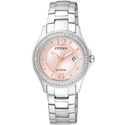 CITIZEN 光動能春意無限晶鑽腕錶(FE1140-51X)-粉紅/29mm