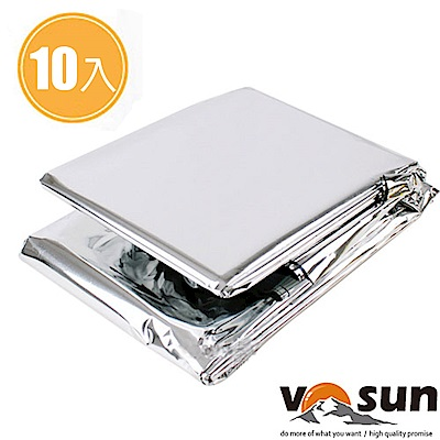 【VOSUN】加大款 超便攜多功能營地戶外急救毯(雙面銀)-10入