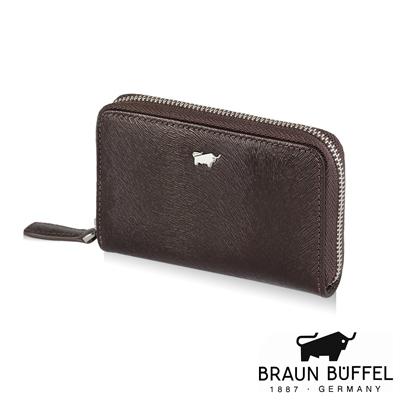 BRAUN BUFFEL - 提貝里烏斯系列馬毛壓紋零錢包 - 咖啡色