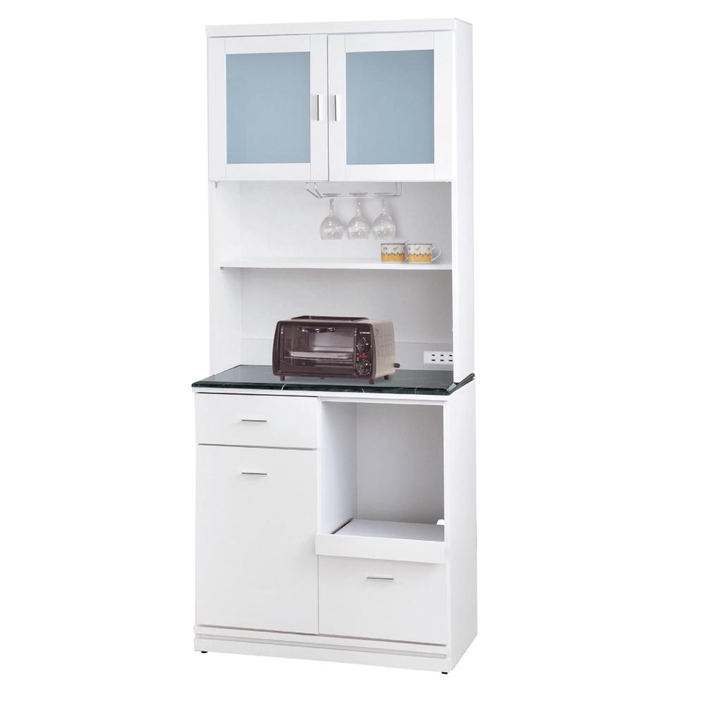 品家居 拜爾2.7尺石面餐櫃組合(兩色可選)-80.5x46x198cm免組