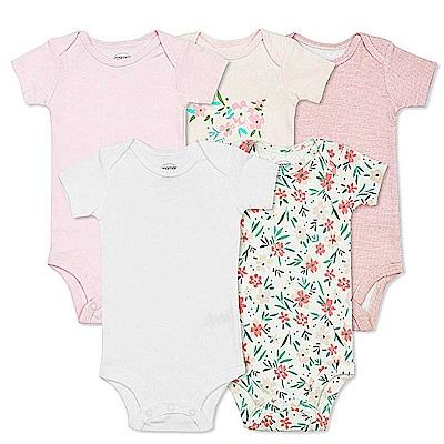 Baby unicorn 粉白碎花條紋短袖包屁衣5件組