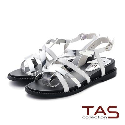 TAS 金屬感閃電造型繫帶低跟涼鞋-摩登白