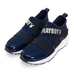PLAYBOY 發燒話題 交叉繃帶亮蔥休閒鞋-藍(女)