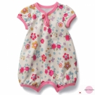 Japan Imports 粉紅花朵短袖連身衣