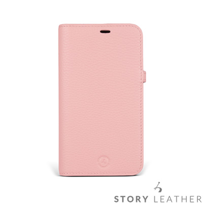 STORYLEATHER iPhone X 筆記本款硬殼 荔枝紋蜜桃粉現貨皮套