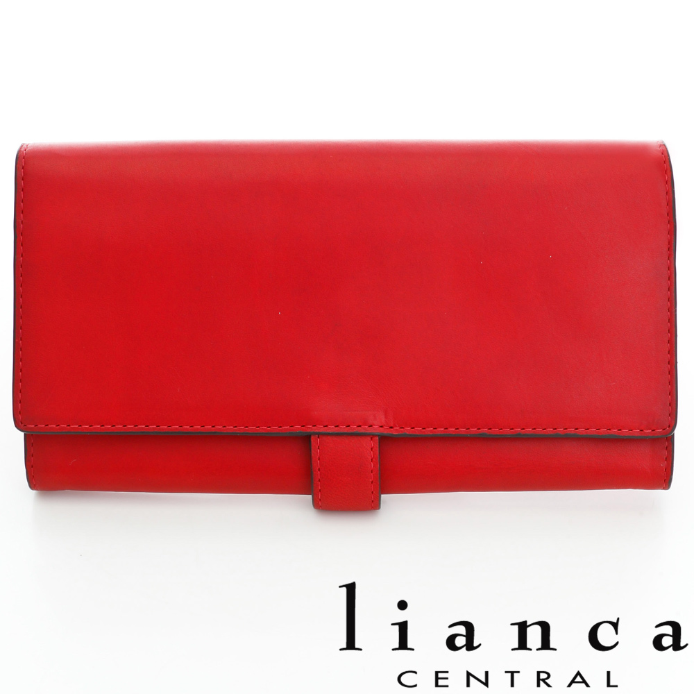 lianca 純手工製牛皮多功能舌扣長夾 紅